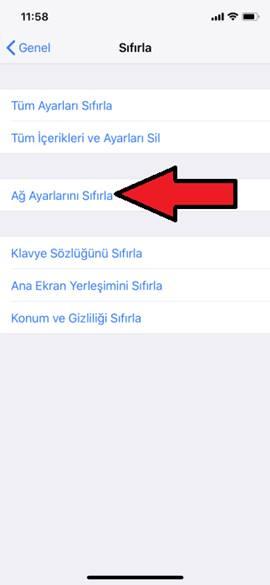iPhone X Ağ Ayarlarına Sıfırlama