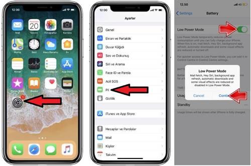 iPhone X Düşük Güç (Low Power) Moduna Alma