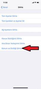 iPhone X Konum ve Gizliliği Sıfırlama