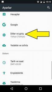 General Mobile dil değiştirme