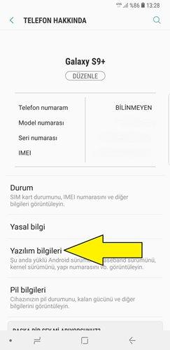 Samsung geliştirici seçenekleri açma