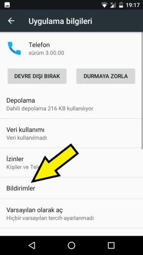 General Mobile gelen arama ekranı gösterme