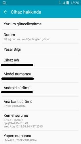 Samsung geliştirici seçenekleri