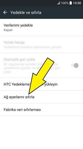 HTC ağ ayarlarına sıfırlama