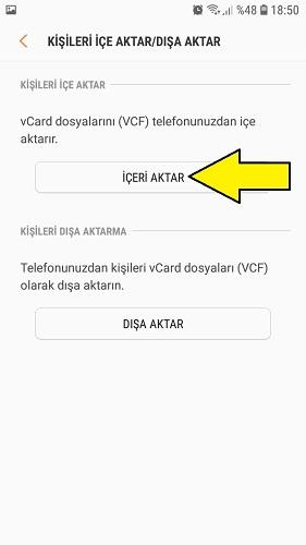 Samsung rehberi aktarma
