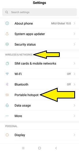 Xiaomi internet paylaşımı hotspot