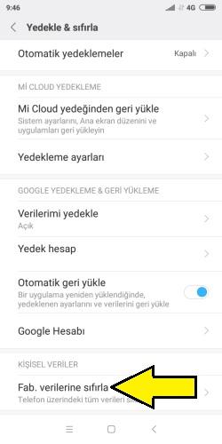 Xiaomi fabrika ayarları sıfırlama