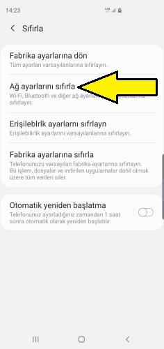 Samsung ağ ayarları sıfırlama