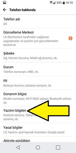 LG Android sürümü