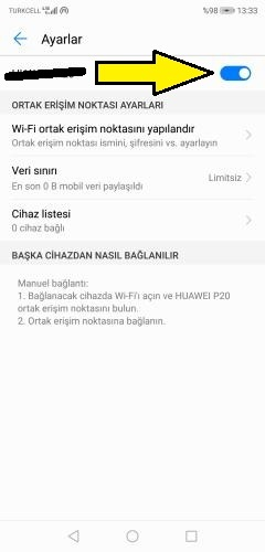 Huawei hotspot açma kapatma