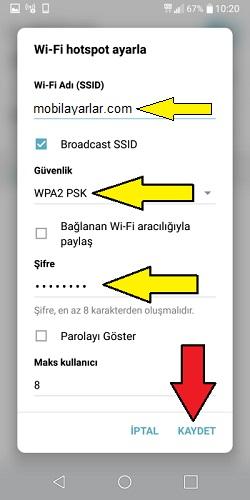 LG WiFi hotspot-internet paylaşımı